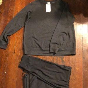 Fleece Lounge Jogger Pants and Sweatshirt